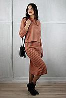 Женский осенний трикотажный оранжевый юбочный комплект Полесье С0063-18 8С0608-Д43 158,164 коралл 42р.