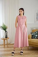 Женское летнее льняное красное платье LadisLine 1352 светлый-коралл 44р.