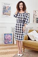 Женское летнее льняное платье Мода Юрс 2674 синий_клетка 46р.