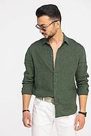 Мужская осенняя льняная зеленая деловая большого размера рубашка Cool Flax КФР002 зеленый 46р.
