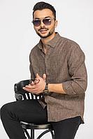 Мужская осенняя льняная коричневая деловая рубашка Cool Flax КФР002 коричневый 46р.