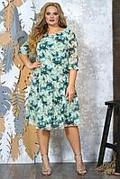 Женское осеннее шифоновое бирюзовое большого размера платье Alani Collection 1379 52р.