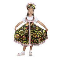 Русский народный костюм 'Хохлома', платье, кокошник, цвет чёрный, р-р 32, рост 122-128 см