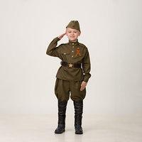 Карнавальный костюм 'Солдат', сорочка, брюки галифе, головной убор, р. 36, рост 146 см
