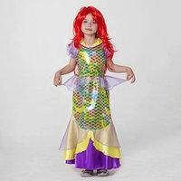 Карнавальный костюм 'Русалка', платье, пояс, парик, р-р 32, рост 122-128 см