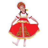Русский костюм 'Хохлома, цветы', платье-сарафан, кокошник, р. 34, рост 140 см, цвет красный