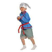 Карнавальный костюм 'Зайчик Побегайчик', маска, рубаха, пояс, шорты, рост 116-122 см