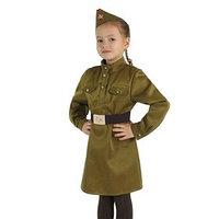 Карнавальный костюм для девочки 'Военный', платье, ремень, пилотка, рост 120-130 см