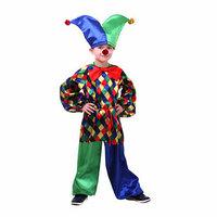 Карнавальный костюм 'Клоун Кеша', рубашка, штаны, шапка, бант, носик, р. 36, рост 140 см