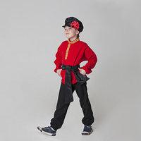 Карнавальный костюм для мальчика 'Русский народный', рубашка, брюки, картуз, кушак, рост 116-122 см, 5-6 лет