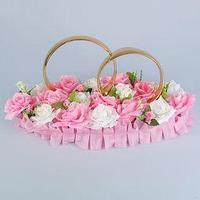 Кольца на крышу 'Обручальные', на подставке, бело-розовые