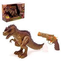 Динозавр 'Тираннозавр', трансформация, пистолет, эффект дыма, свет и звук, цвет МИКС
