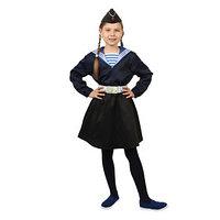 Карнавальный костюм 'Морячка в пилотке' для девочки, синяя фланка, юбка, ремень, р. 40, рост 146 см
