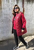 Женский осенний трикотажный спортивный большого размера спортивный костюм Runella 1436 красный 54р.