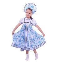 Русский народный костюм для девочки с кокошником, голубые узоры, р-р 32, рост 122-128 см