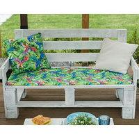 Подушка на трехместную скамейку 'Этель' Попугай, 45x150 см, репс с пропиткой ВМГО, 100 хлопок