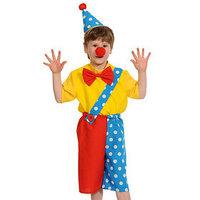 Карнавальный костюм 'Клоун Чудик', рубаха, бриджи, колпак, нос, рост 128-134 см