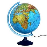 Интерактивный глобус физико-политический, диаметр 320 мм, с подсветкой, с очками