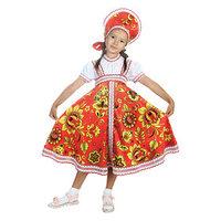 Русский народный костюм 'Хохлома', платье, кокошник, цвет красный, р-р 32, рост 122-128 см