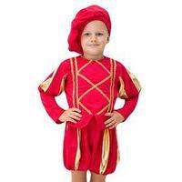 Карнавальный костюм 'Принц', берет, кофта с отд золотой тесьмой, шорты, рост 104-116