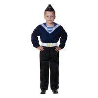 Карнавальный костюм 'Моряк в пилотке' для мальчика, синяя фланка, брюки, ремень, р-р 40, рост 146 см