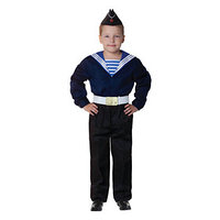 Карнавальный костюм 'Моряк в пилотке' для мальчика, синяя фланка, брюки, ремень, р. 40, рост 152 см