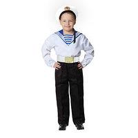 Карнавальный костюм 'Моряк в бескозырке' для мальчика, белая фланка, брюки, ремень, р. 40, рост 152 см
