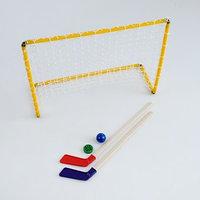 Набор хоккейный 5 в 1 ворота, 2 клюшки, шайба, мячик, микс