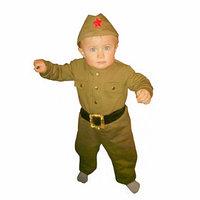 Костюм военного детский комбинезон, пилотка, трикотаж, хлопок 100 , рост 68 см, 1-2 года