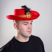 Карнавальная шляпа с пером, р-р. 52-54, цвет красный