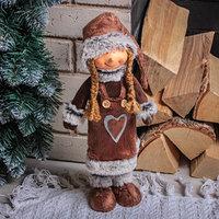 Кукла интерьерная 'Малышка в коричневой шубке с сердечком' 47 см