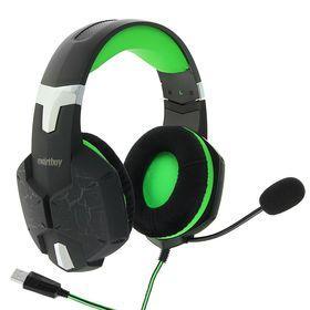 Наушники Smartbuy RUSH TAIPAN, игровые, микрофон, USB, 2.5 м, чёрно-зеленые - фото 1