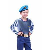 Детский костюм военного 'ВДВ', тельняшка, голубой берет, ремень, рост 110 см