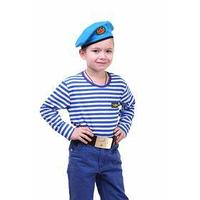 Детский костюм военного 'ВДВ', тельняшка, голубой берет, ремень, рост 122 см
