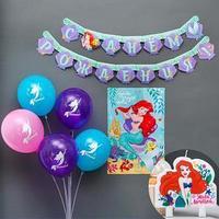 Набор для праздника гирлянда, плакат, свеча, шарики 5 шт 'Русалочка Ариэль', Принцессы