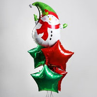 Букет из шаров 'Снеговик и звёзды', фольга, набор из 5 шт.