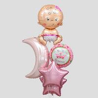 Букет из шаров 'С рождением девочки', луна, звезда, младенец, фольга, набор 5 шт.