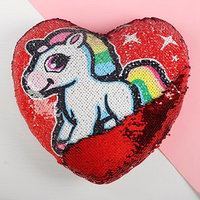 Подушка сердце 'Единорог', двусторонние пайетки, цвет красный