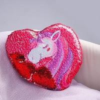 Подушка 'Единорог', двусторонние пайетки, цвет красно-розовый