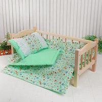Кукольное постельное 'Цветочки на зелёном', простынь, одеяло 46х36 см, подушка 27х17 см