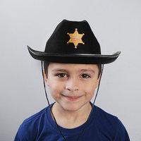 Ковбойская детская шляпа 'Главный шериф', р-р. 52-54, цвет чёрный