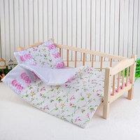 Кукольное постельное 'Цветы на белом', простынь, одеяло 46х36 см, подушка 27х17 см