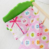 Постельное бельё для кукол 'Розовые котики', простынь, одеяло, подушка