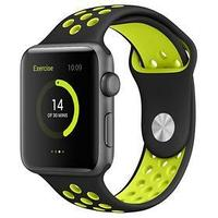 Ремешок Krutoff Silicone Sport, для Apple Watch, 42/44 мм, черно-желтый