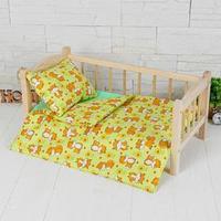 Постельное бельё для кукол 'Лисоньки на зелёном', простынь, одеяло, подушка