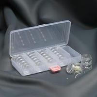 Контейнер для рукоделия, со съёмными ячейками, 25 баночек d 3 см, 19 x 9,5 x 4 см, цвет прозрачный
