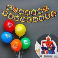 Набор для праздника гирлянда, свеча, шарики 5 шт 'Человек Паук', Человек-Паук