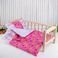 Постельное бельё для кукол 'Медузы на розовом', простынь, одеяло, подушка