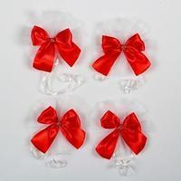 Бантики на ручки свадебного автомобиля, 4 шт., красные