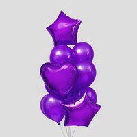 Букет из шаров 'Сердца и звёзды', латекс, фольга, набор 14 шт., цвет фиолетовый